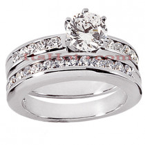 14K Gold Round Diamond Engagement Ring Set 1.22ct