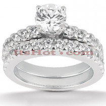 14K Gold Prong Set Diamond Engagement Ring Set 1.28ct