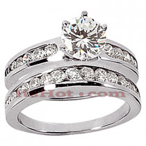 14K Gold Round Diamond Engagement Ring Set 1.30ct