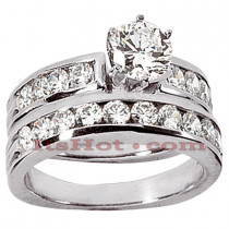 14K Gold Channel and Prong Set Diamond Engagement Ring Set 1.44ct