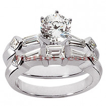 14K Gold Designer Diamond Engagement Ring Set 1.46ct