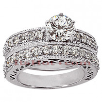 14K Gold Designer Diamond Engagement Ring Set 1.55ct