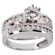 14K Gold Designer Diamond Engagement Ring Set 1.59ct