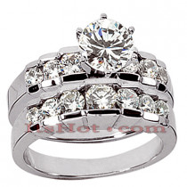 14K Gold Designer Diamond Engagement Ring Set 2.15ct