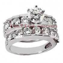 14K Gold Designer Diamond Engagement Ring Set 2.21ct