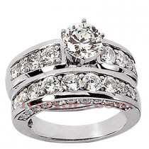 14K Gold Designer Diamond Engagement Ring Set 2.57ct