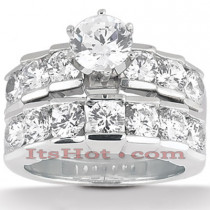 14K Gold Designer Prong Set Diamond Engagement Ring Set 3.20ct