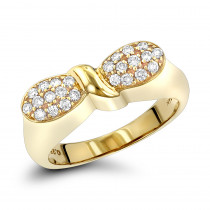14K Gold Designer Diamond Ring w Round Diamonds 0.25ct
