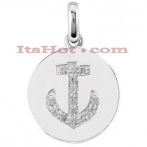 14K Gold Diamond Anchor Pendant 0.14ct
