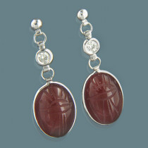 14K Gold Diamond and Carnelian Scarab Earrings 0.25ct