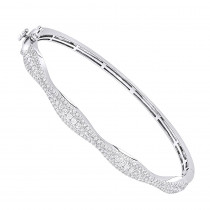 14K Gold Diamond Bangle Bracelet for Women 1ct by Luxurman
