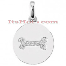 14K Gold Diamond Bone Dog Tag Pendant 0.24ct