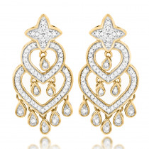 14K Gold Diamond Chandelier Earrings For Women 0.42ct