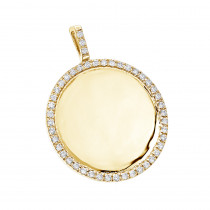 14K Gold Diamond Circle Medallion Pendant for Women 0.5ct by Luxurman