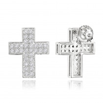 14k Gold Diamond Cross Earrings 0.55ct
