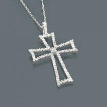 14K Gold Diamond Cross Pendant 0.42ct
