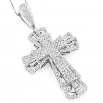 14K Gold Diamond Cross Pendant 3.78ct