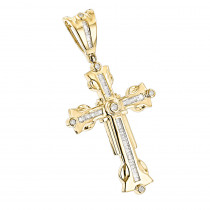 14K Gold Diamond Cross Pendant Mens Charm 0.95ct