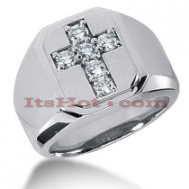 14K Gold Diamond Cross Ring 0.9ct Mens