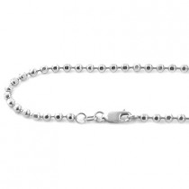 Mens Dog Tag Chains 14K White Gold Ball Chain 4mm wide, 22in - 40in