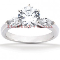 14K Gold Round and Marquise Diamond Designer Engagement Ring 0.78ct
