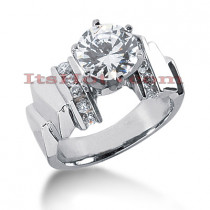 14K Gold Diamond Prong and Channel Set Designer Engagement Ring 0.80ct