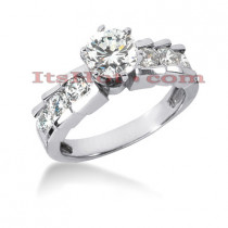 14K Gold Channel and Prong Set Diamond Designer Engagement Ring 0.80ct