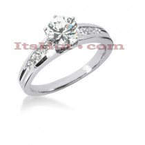 14K Gold Round and Princess Diamond Designer Engagement Ring 0.92ct