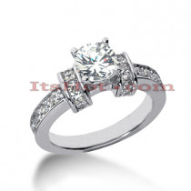14K Gold Prong and Flush Set Diamond Designer Engagement Ring 0.94ct