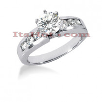 14K Gold Prong and Channel Set Diamond Designer Engagement Ring 0.94ct