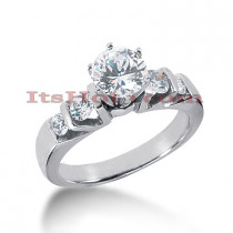 14K Gold Prong and Bar Set Diamond Designer Engagement Ring 0.96ct