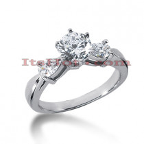 14K Gold Round and Pear Diamond Designer Engagement Ring 1.14ct