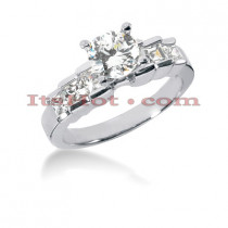 14K Gold Prong and Bar Set Diamond Designer Engagement Ring 1.18ct