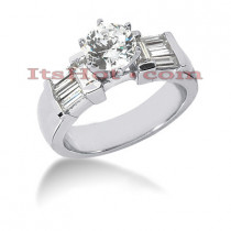 14K Gold Baguette and Round Diamond Designer Engagement Ring 1.22ct