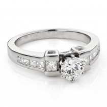 Classy Princess Cut and Round Diamond Engagement Ring 1.26ct 14k Gold