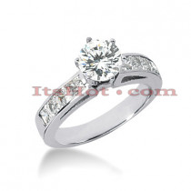 14K Gold Diamond Designer Prong and Channel Set Engagement Ring 1.30ct