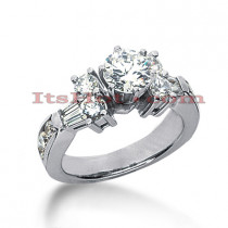 14K Gold Prong and Channel Set Diamond Designer Engagement Ring 1.36ct