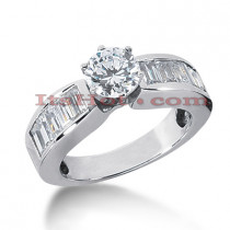14K Gold  Baguette and Round Diamond Designer Engagement Ring 1.70ct