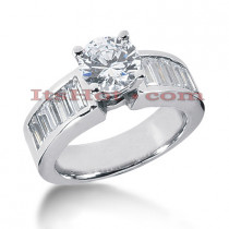 14K Gold Baguette and Round Diamond Designer Engagement Ring 1.82ct