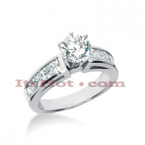 14K Gold Channel and Prong Set Diamond Designer Engagement Ring 1.86ct