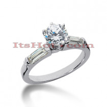 14K Gold Baguette and Round Diamond Designer Engagement Ring 1ct