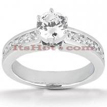 14K Gold Diamond Prong and Channel Set Designer Engagement Ring 1ct