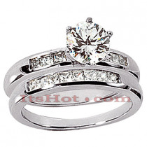 14K Gold Diamond Designer Engagement Ring Set 0.60ct