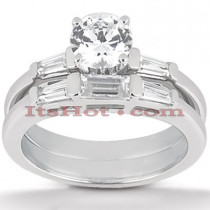 14K Gold Diamond Designer Engagement Ring Set 0.63ct