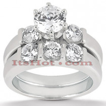 14K Gold Diamond Designer Engagement Ring Set 0.75ct