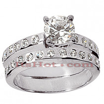14K Gold Diamond Designer Engagement Ring Set 0.78ct