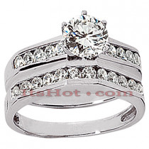 14K Gold Diamond Designer Engagement Ring Set 1.16ct
