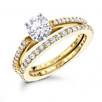 14K Gold Round Diamond Designer Engagement Ring Set with Band 1.19ct