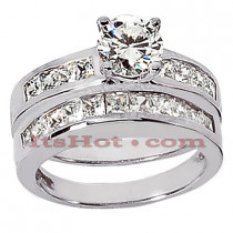 14K Gold Diamond Designer Engagement Ring Set 1.33ct