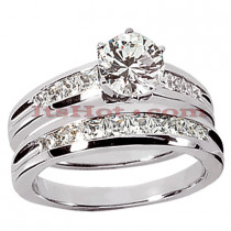 14K Gold Diamond Designer Engagement Ring Set 1.34ct